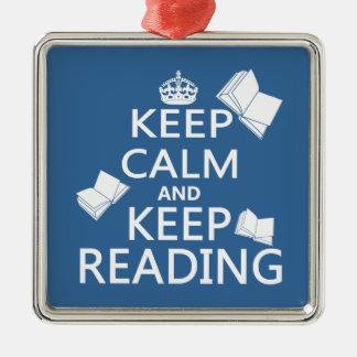穏やか保ち、読書を保って下さい メタルオーナメント