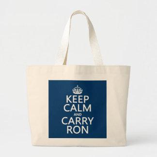 穏やか保ち、運んで下さいRon (どの色でも)を ラージトートバッグ