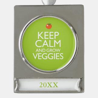 穏やか保ち、野菜を育てて下さい シルバープレートバナーオーナメント