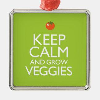 穏やか保ち、野菜を育てて下さい メタルオーナメント