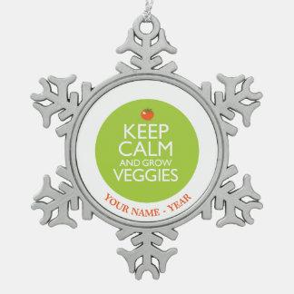 穏やか保ち、野菜2を育てて下さい スノーフレークピューターオーナメント