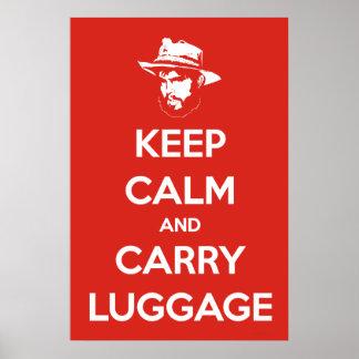 穏やか保って下さい及び荷物を運んで下さい ポスター