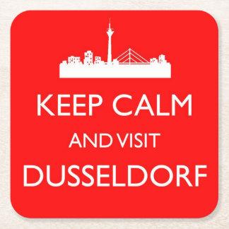 穏やか、訪問デュッセルドルフ-ドイツコースター保って下さい スクエアペーパーコースター