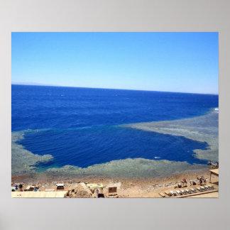 穴のDahab青いエジプトの写真 ポスター