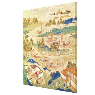 穴を開けられた石を運ぶ皇帝Hui Tsung キャンバスプリント