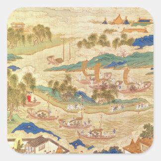 穴を開けられた石を運ぶ皇帝Hui Tsung スクエアシール