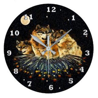 空のオオカミ動物の時計 ラージ壁時計