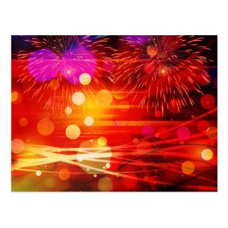 空の光線および花火をつけて下さい ポストカード