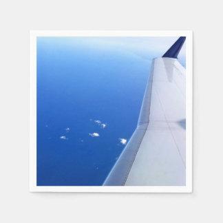 空の写真の飛行機の翼の飛行 スタンダードカクテルナプキン