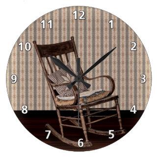 空の古いヴィンテージのロッキングチェア ラージ壁時計