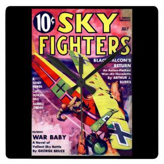 空の戦闘機- 7月1936a_Pulpの芸術 スクエア壁時計