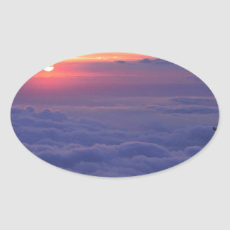 空の日の出の穂先ピークコロラド州 楕円形シール