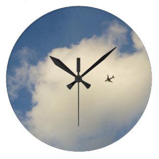 空の柱時計の飛行機 ラージ壁時計