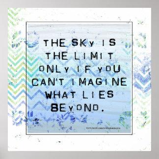空は限界の感動的でかわいらしい青です ポスター