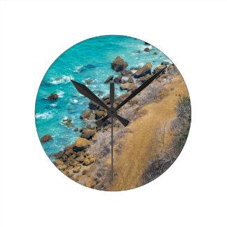 空中写真の太平洋の海岸線プエルトローペッツE ラウンド壁時計