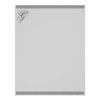 空想のイニシャルレターヘッド紙が付いている灰色のさざ波 レターヘッド