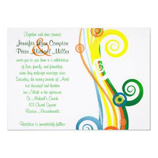 空想のストライプな結婚式のinvation カード