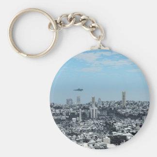 空想科学小説の都市景観 キーホルダー