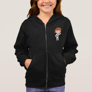 空手の女の子のフード付きスウェットシャツをしている女の子 スウェットシャツ