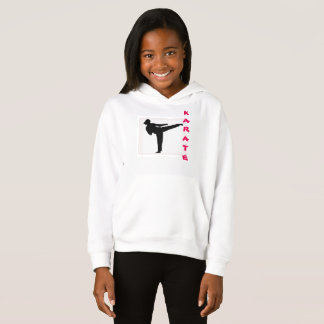 空手の女の子のフード付きスウェットシャツ