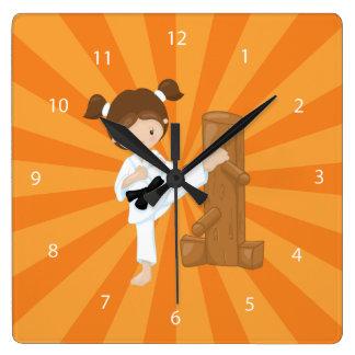 空手の子供 スクエア壁時計