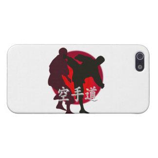 空手の戦い、赤い円の背景のシルエット iPhone 5 CASE