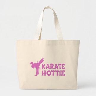 空手のHottieのバッグ-女の子の軍芸術家のピンク ラージトートバッグ