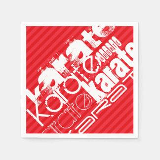 空手; 深紅の赤のストライプ スタンダードカクテルナプキン