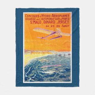 空気および水ポスターの浮遊物の飛行機の眺め フリースブランケット