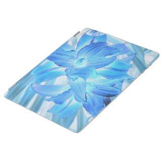 空気のようで青いユリ、冬の花柄のファンタジー iPadスマートカバー