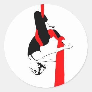 空気の絹のダンサーのジェミニ姿勢 ラウンドシール