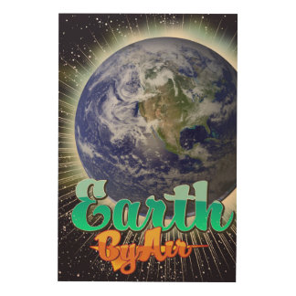 空気ヴィンテージ飛行ポスターによる地球 ウッドウォールアート