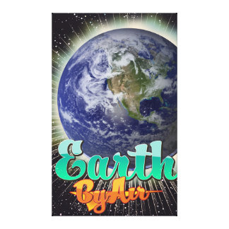 空気ヴィンテージ飛行ポスターによる地球 キャンバスプリント