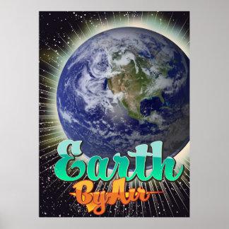 空気ヴィンテージ飛行ポスターによる地球 ポスター