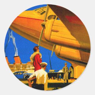 空気、海および土地旅行ステッカー ラウンドシール