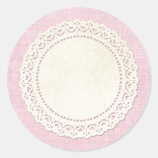 空白ので素朴なバーラップのDoily -カスタマイズ可能な包装 ラウンドシール