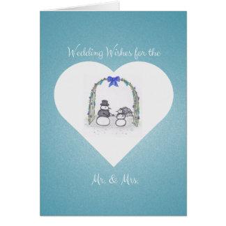 空白ので青い冬の結婚式の挨拶状 カード