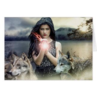 空白のなカード: 神秘的な女性の魔法のファンタジーの芸術 カード