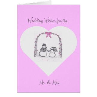 空白のなピンクの冬の結婚式の挨拶状 カード