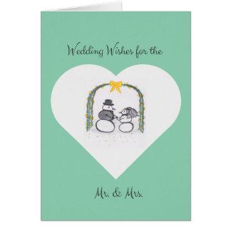 空白のな薄緑の冬の結婚式の挨拶状 カード