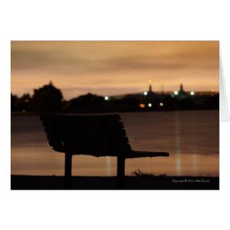 空白のなCust。 夜2挨拶状の公園のベンチ カード