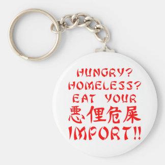 空腹か。 ホームレスか。 あなたの輸入を食べて下さい キーホルダー