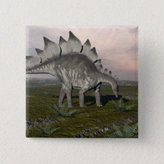 空腹なステゴサウルス- 3Dは描写します 5.1CM 正方形バッジ
