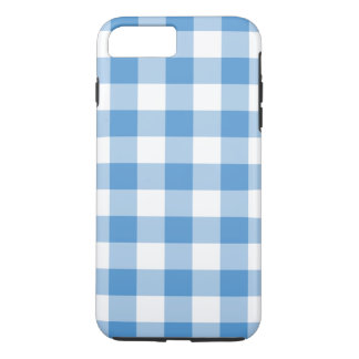 空色および白のギンガムのiPhone 7のプラスの場合 iPhone 8 Plus/7 Plusケース