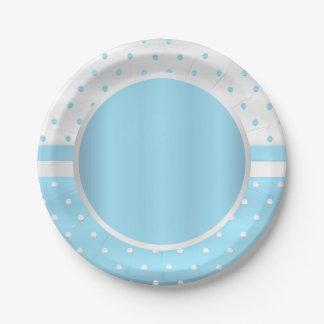 空色および白の水玉模様 ペーパープレート