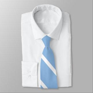空色および白カスタムな大学ストライプのタイ オリジナルネクタイ