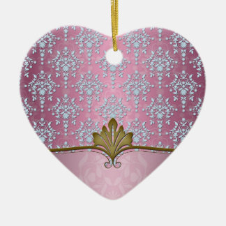 空色が付いているガーリーなピンクのダマスク織 セラミックオーナメント