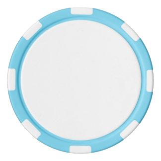 空色のストライプのな端が付いているポーカー用のチップ カジノチップ