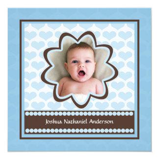 空色のハートの誕生の発表のカスタムの写真 カード
