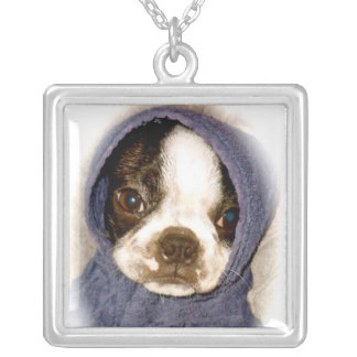 空色のボストンテリアの子犬のネックレス シルバープレートネックレス